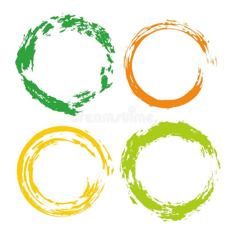 Kolorowy wektorowy ustawiający z tęcza okręgu muśnięcia uderzeniami dla ram, ikony, sztandaru projekta elementy ilustracja wektor