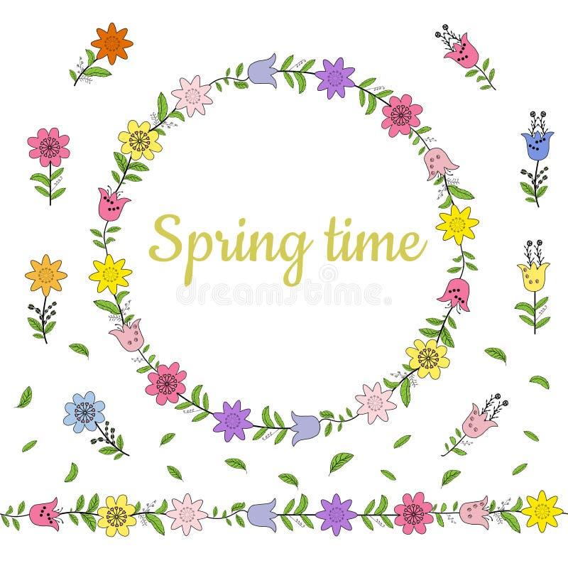 Kolorowy wianek robić od różnych wiosna kwiatów, liści i Niekończący się horyzontalny muśnięcie Bezszwowa horyzontalna granica ilustracja wektor