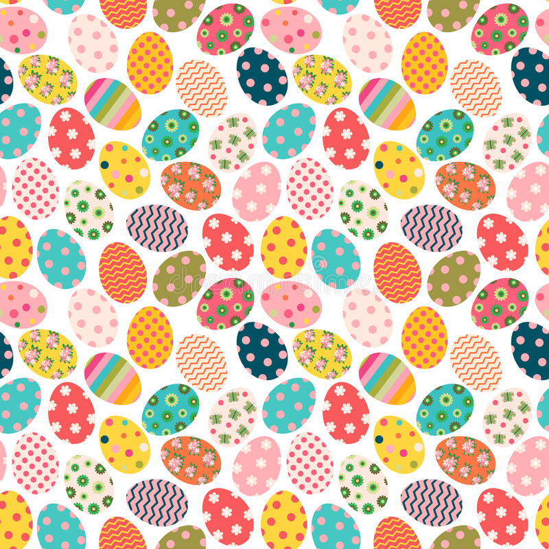 Kolorowy Wielkanocny bezszwowy wzór z malującymi jajkami royalty ilustracja