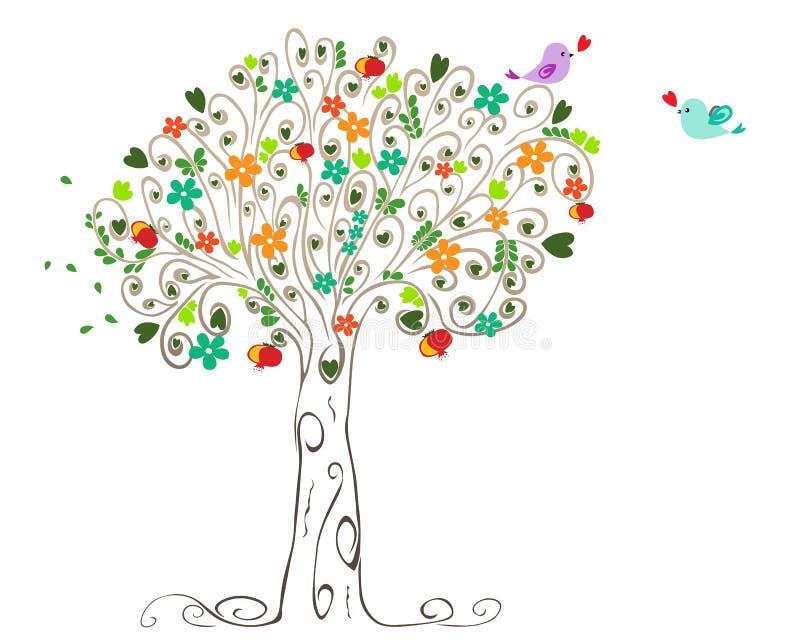 Kolorowy wiosny drzewo, ptaki w miłości i royalty ilustracja