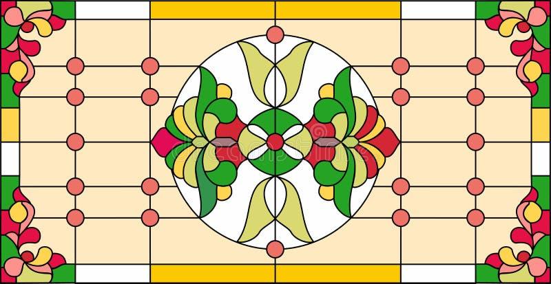 Kolorowy witrażu okno w klasyka stylu stylu, Tiffany techniqu royalty ilustracja