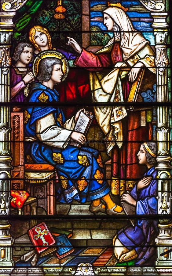 Kolorowy witrażu okno w St Louis katedrze w Nowym Orlea zdjęcia stock