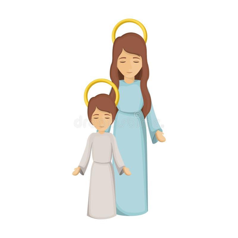 Kolorowy wizerunek z maryja dziewica i Jesus chłopiec royalty ilustracja