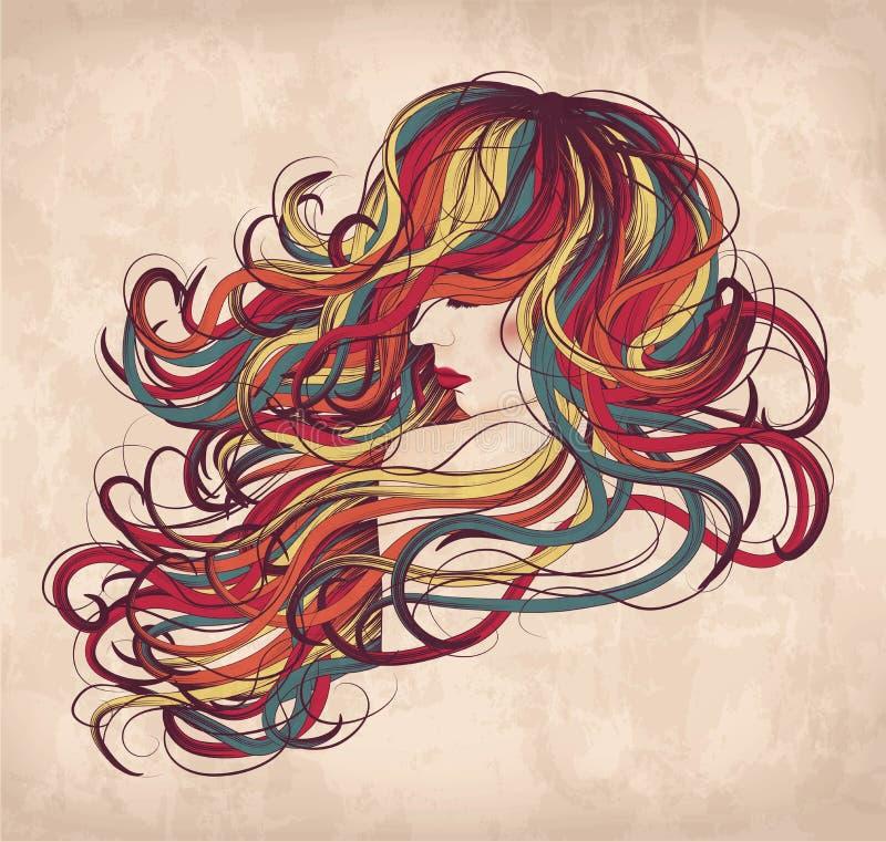 Kolorowy womain z dzikim włosy royalty ilustracja
