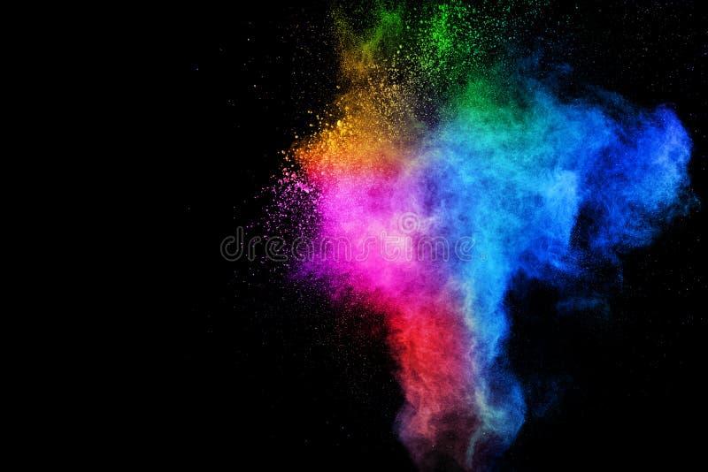 Kolorowy wybuch dla Szczęśliwego Holi proszka Abstrakcjonistyczny tło kolor cząsteczek chełbotanie lub wybuch zdjęcie stock