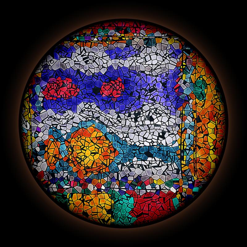Kolorowy wz?r w stylu Gocki witra?u okno z round ram? Stubarwny abstrakcjonistyczny ornament royalty ilustracja
