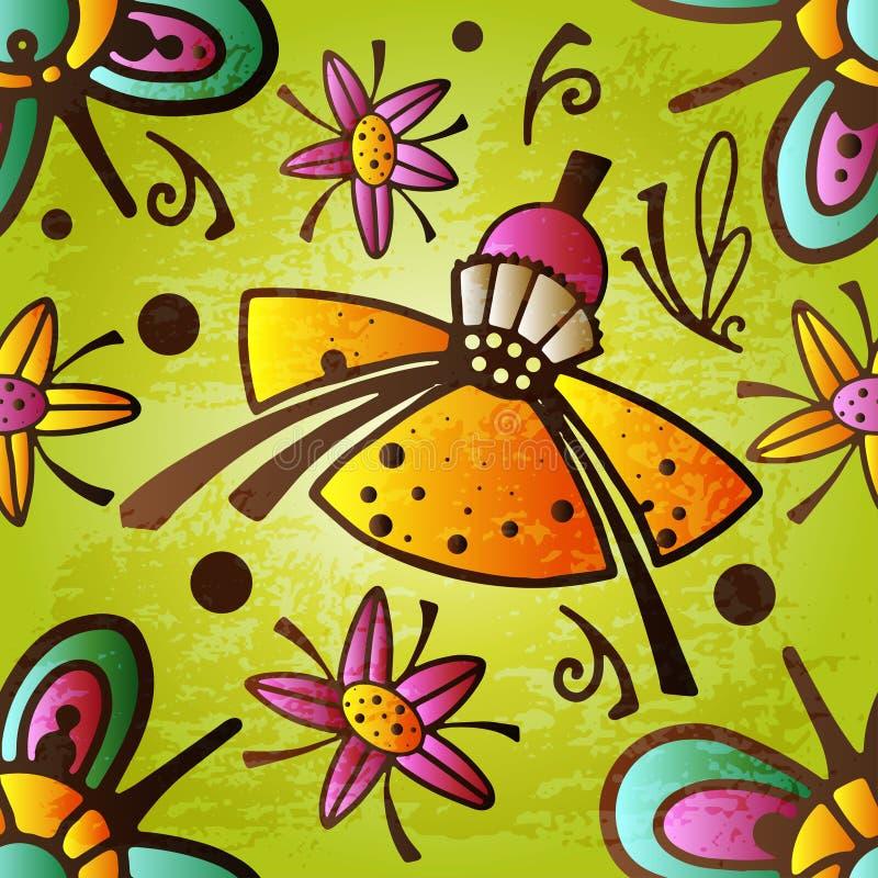 Kolorowy Zaczarowany rocznik Kwitnie bezszwowego deseniowego wektor Magiczny lasowy krainy cudów tło ilustracja wektor