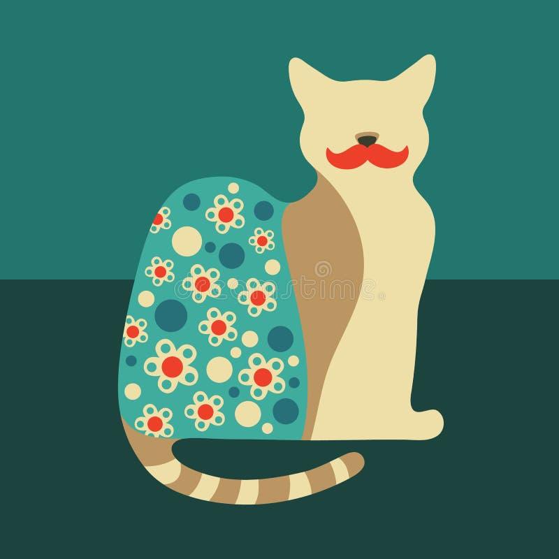 Kolorowy zadawalający kot royalty ilustracja