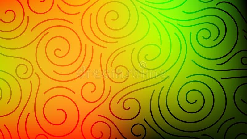 Kolorowy zamazany tło z cienkimi linia kędziorami, zawijasy Kędzierzawa nowożytna abstrakcjonistyczna gradient karta ilustracji