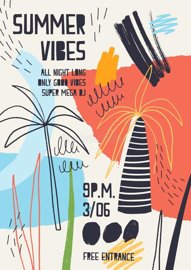 Kolorowy zaproszenia lub plakata szablon dekorujący z tropikalnymi drzewkami palmowymi, farba plami, kleksy i skrobanina dla lata royalty ilustracja