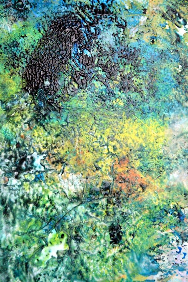 Kolorowy zmrok - błękitnej zieleni żółtej farby akwareli akrylowy tło, kolorowa tekstura royalty ilustracja