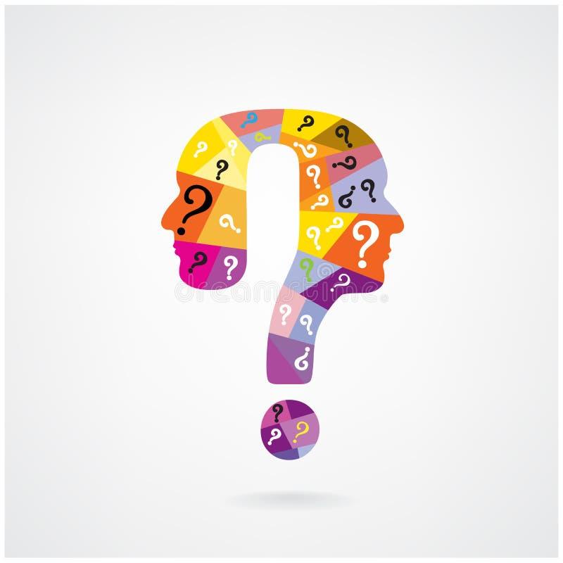 Kolorowy znaka zapytania mężczyzna głowy symbol ilustracji
