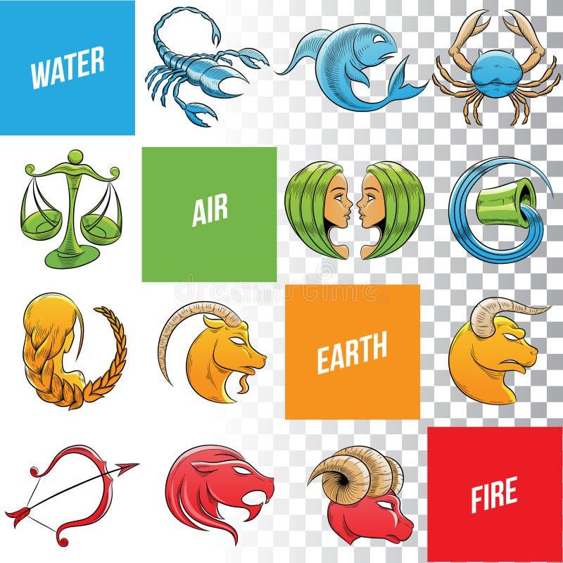 Kolorowy zodiak Podpisuje nakreślenia odizolowywających na Białym tle ilustracja wektor
