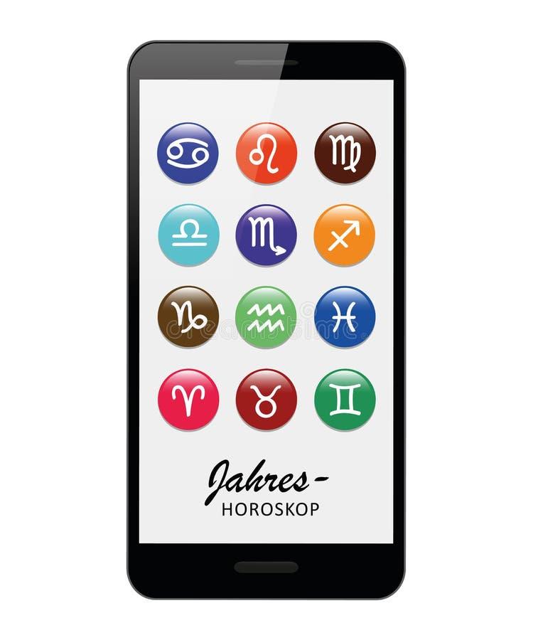 Kolorowy zodiaka znaka horoskop w smartphone ilustracji