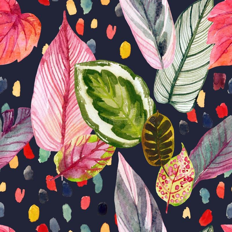 Kolorowy zwrotnika lata t?o: akwarela opuszcza w retro 90s stylu, abstrakcjonistyczni brushstrokes ilustracji