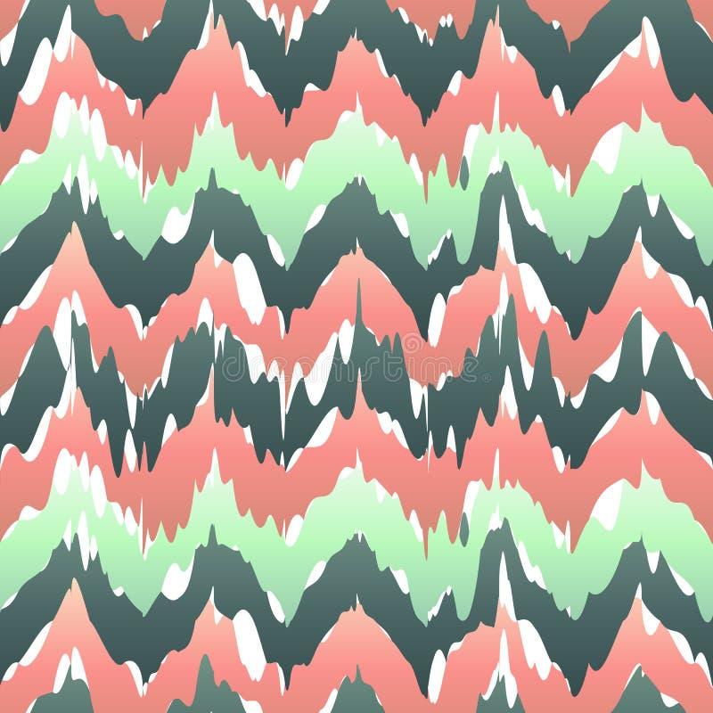 Kolorowy zygzakowaty geometryczny bezszwowy wzór w menchiach i zieleni, wektorowy ikat wzór ilustracji