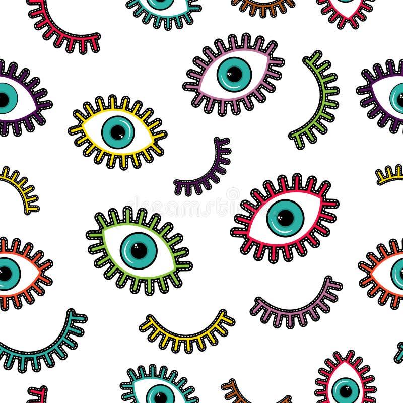 Kolorowych ścieg łaty oka ikon bezszwowy wzór ilustracji