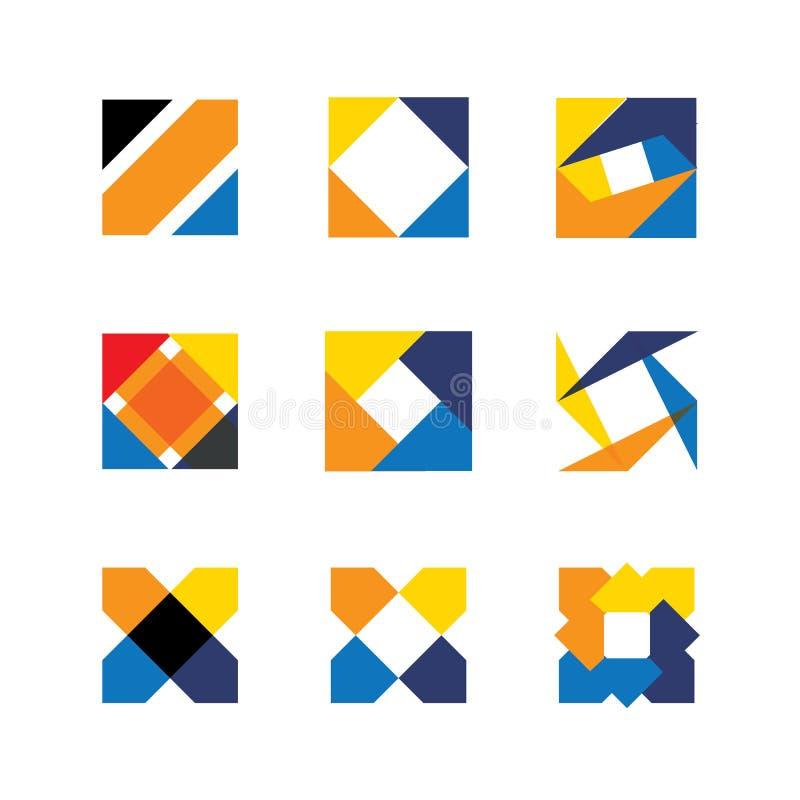 Kolorowych abstrakcjonistycznych niezwykłych kształtów loga wektorowe ikony projekta ele royalty ilustracja