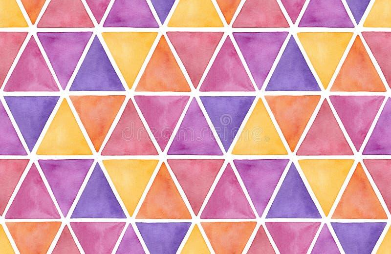Kolorowych akwarela trójboków bezszwowy wzór ilustracja wektor