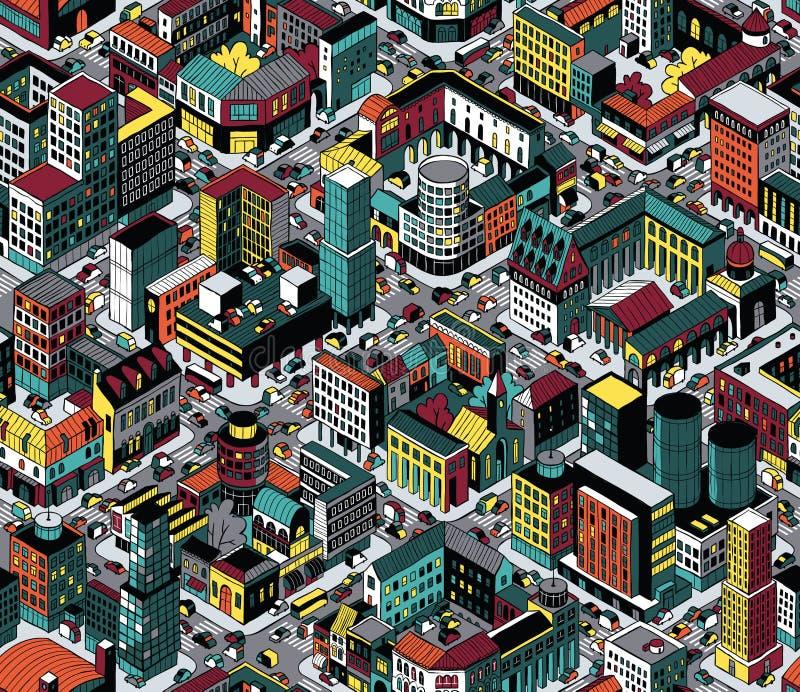 Kolorowych bloków mieszkalnych Isometric Bezszwowy wzór - Średni rozmiar royalty ilustracja