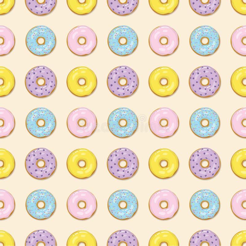 Kolorowych donuts bezszwowy wzór obraz stock