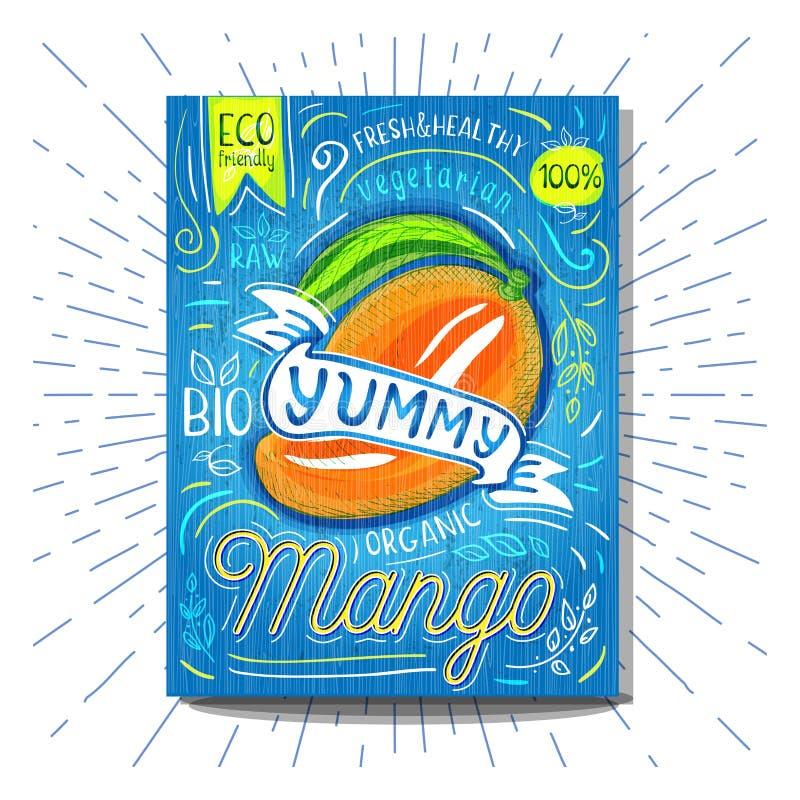 Kolorowych etykietka plakatowych majcherów owoc warzywa kredy nakreślenia karmowy styl, jedzenie i pikantność, ilustracji