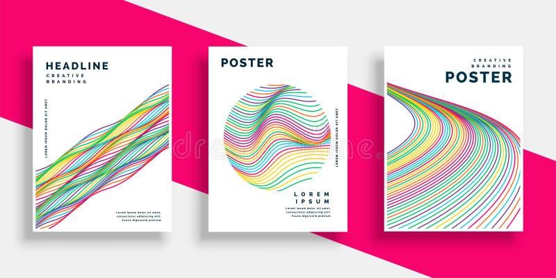 Kolorowych falistych linii ulotki plakata okładkowi projekty ustawiający royalty ilustracja
