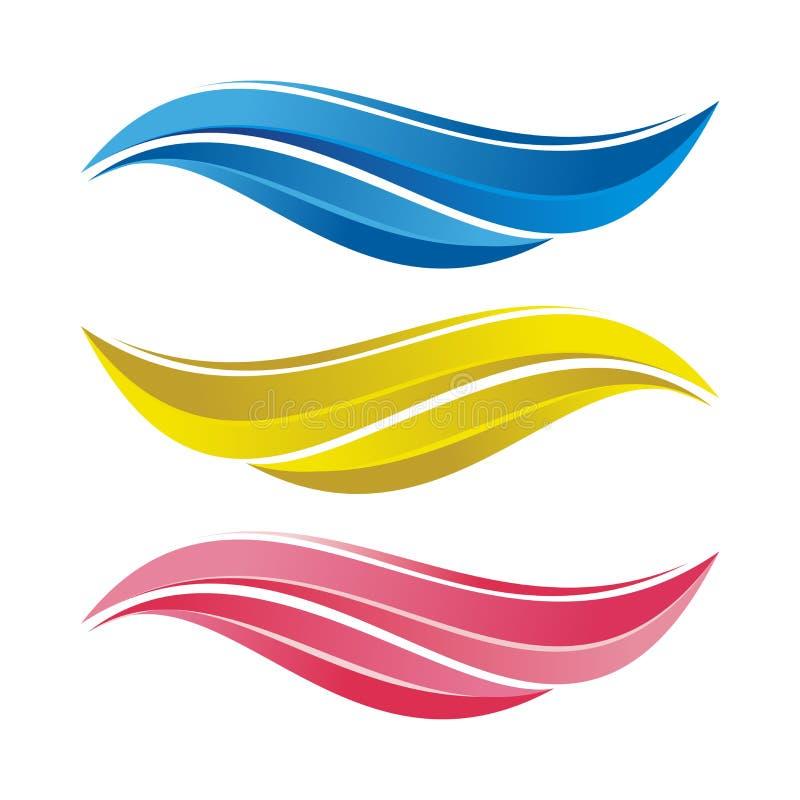Kolorowych Falowych lampasów projekta wektorowy element z Gradientowym abstraktem ilustracja wektor