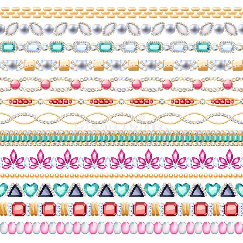 Kolorowych gemstones bezszwowe horyzontalne granicy ustawiać ilustracji