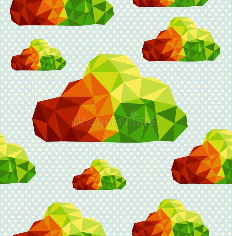 Kolorowych geometrycznych chmur bezszwowy deseniowy backgro ilustracja wektor