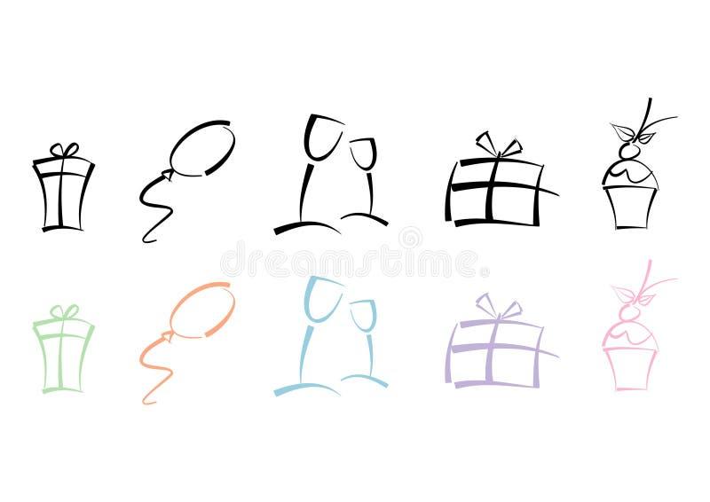 kolorowych ikon partyjny set ilustracja wektor