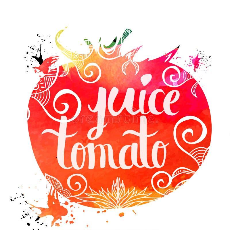 Kolorowych jaskrawych ręki literowania plakatowych warzyw pomidorowy sok odizolowywający na białym tle wektor ilustracji
