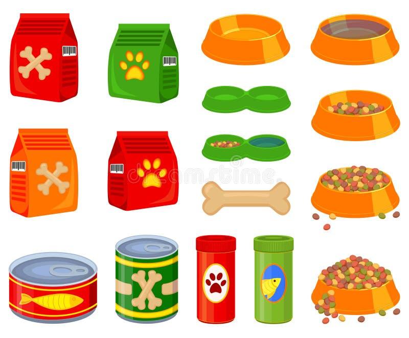 16 kolorowych kreskówki zwierzęcia domowego jedzenia elementów ustawiających ilustracja wektor