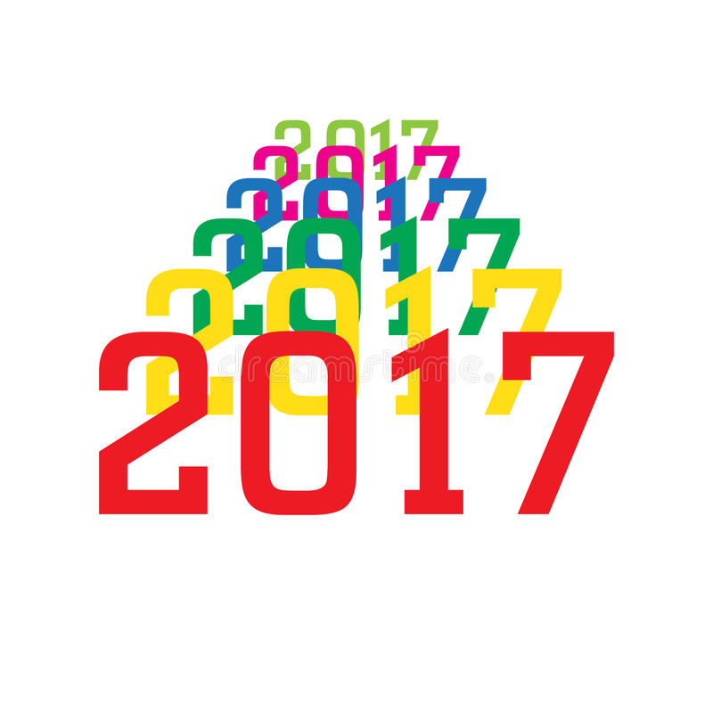 2017 kolorowych liczb nowy rok na białym tle ilustracja wektor