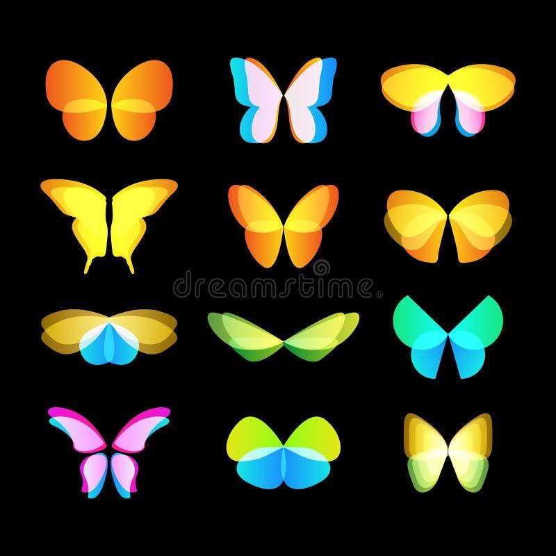 kolorowych motyli loga wektorowy set Latających insektów logotypy inkasowi Dzikie natura elementów ikony skrzydła ilustracja wektor