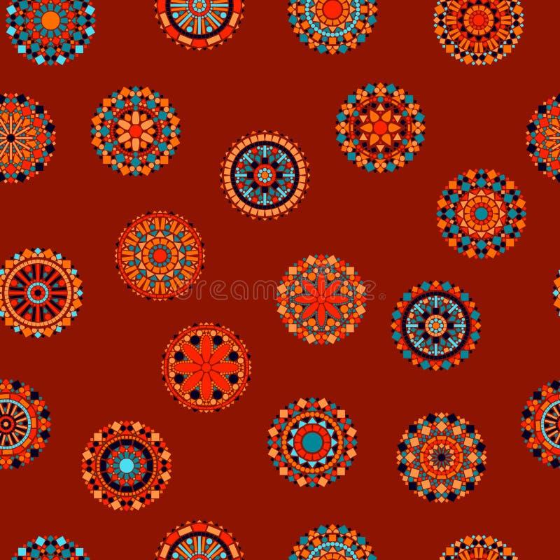 Kolorowych okręgu kwiatu mandalas bezszwowy wzór w pomarańczowym i błękitnym na czerwieni, wektor ilustracja wektor