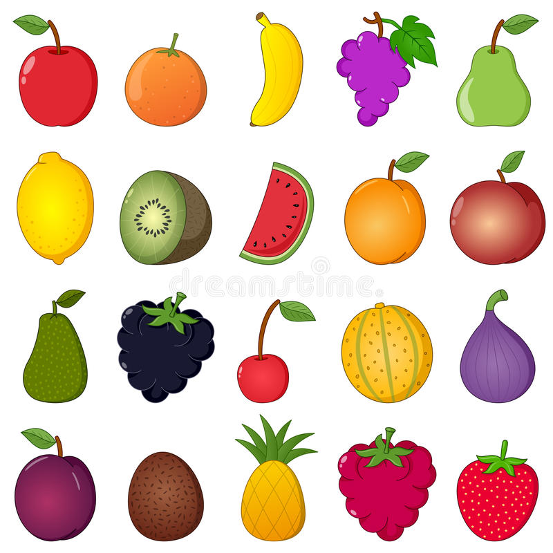 Kolorowych owoc kreskówki Inkasowy styl ilustracja wektor