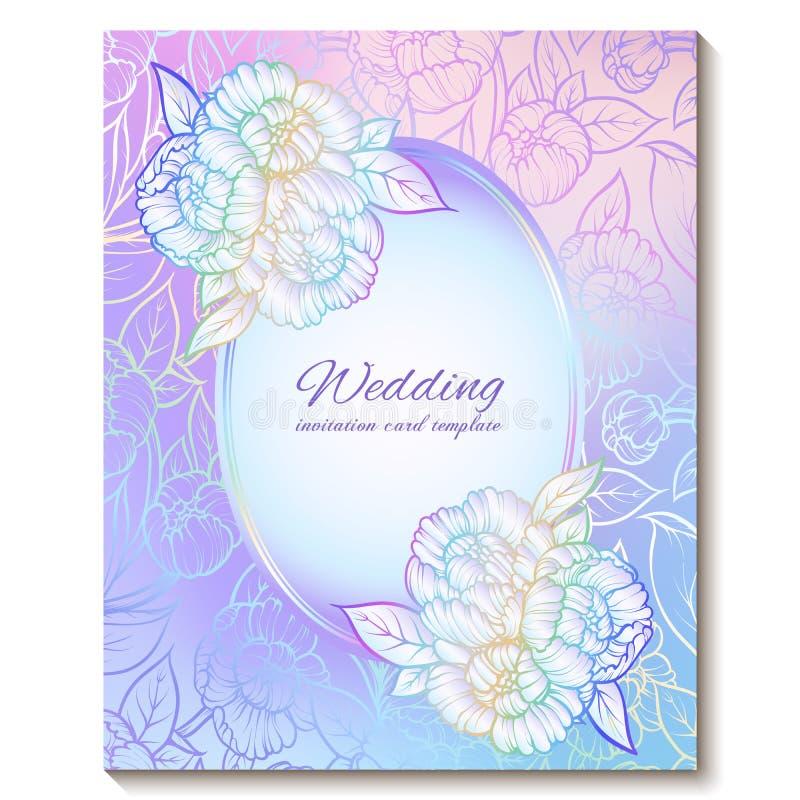 Kolorowych pastelowych błękitnych fiołek menchii zaproszenia miękka kwiecista jaskrawa karta z miejscem dla teksta Abstrakcjonist ilustracja wektor
