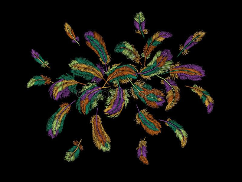Kolorowych piórek hafciarski round przygotowania Boho plemienny odzieżowy indyjski ptasi klasyk haftował tło ilustracja wektor
