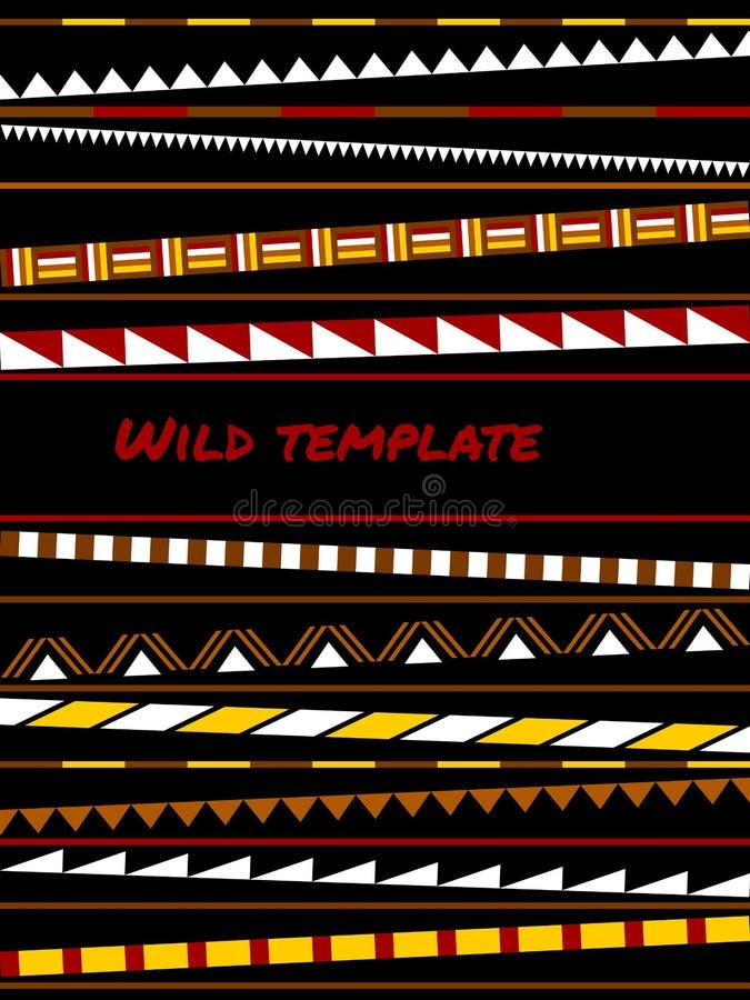 Kolorowych prostych kształtów etniczny afrykanin paskował szablon, wektor ilustracja wektor