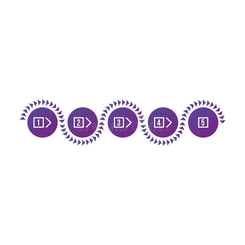 Kolorowych purpurowych gradientów okregów pięć kroków infographic element Z liczbami, trójboka sinusa fala pokazuje kierunek wekt royalty ilustracja