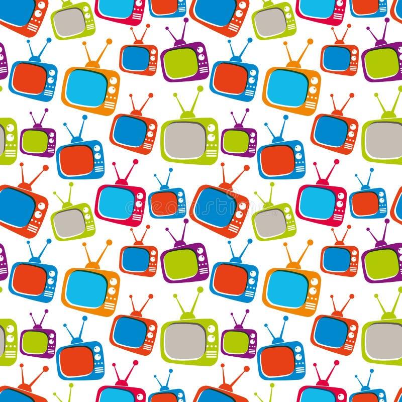 Kolorowych retro stylowych telewizorów bezszwowy tło, wektorowy illustr ilustracja wektor