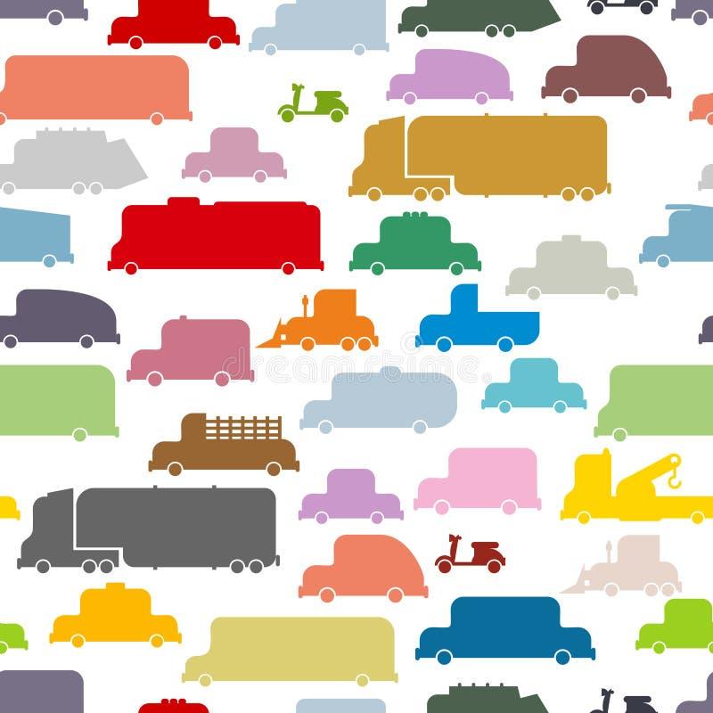 Kolorowych samochodów bezszwowy wzór royalty ilustracja