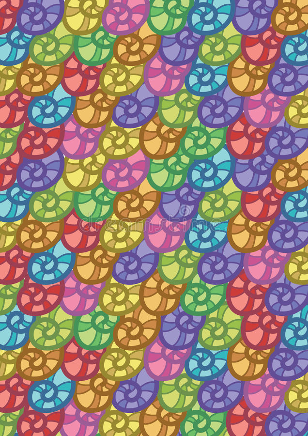Kolorowych Seashells Deseniowy Abstrakcjonistyczny Wektorowy tło royalty ilustracja