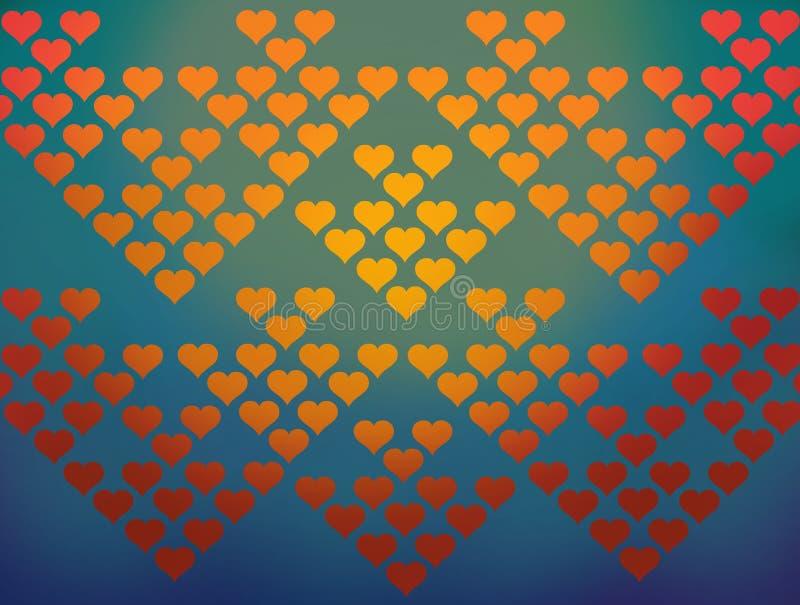 Kolorowych serc deseniowy tło royalty ilustracja