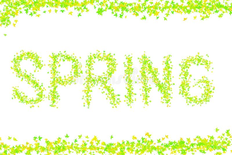 Kolorowych tło wiosny żółtej zieleni świeżych jaskrawych wpisowych liści klonowych wizerunku projekta podstawy mini pocztówka ilustracji