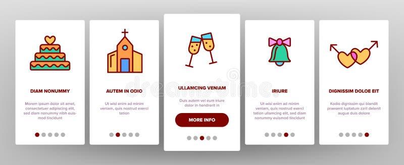 Koloru ślub I Angażować Wektorowego Onboarding royalty ilustracja