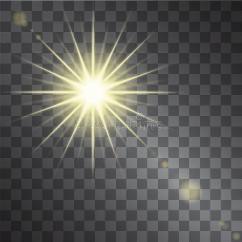 Koloru żółtego ciepły lekki skutek, słońce promienie na przejrzystym tle royalty ilustracja