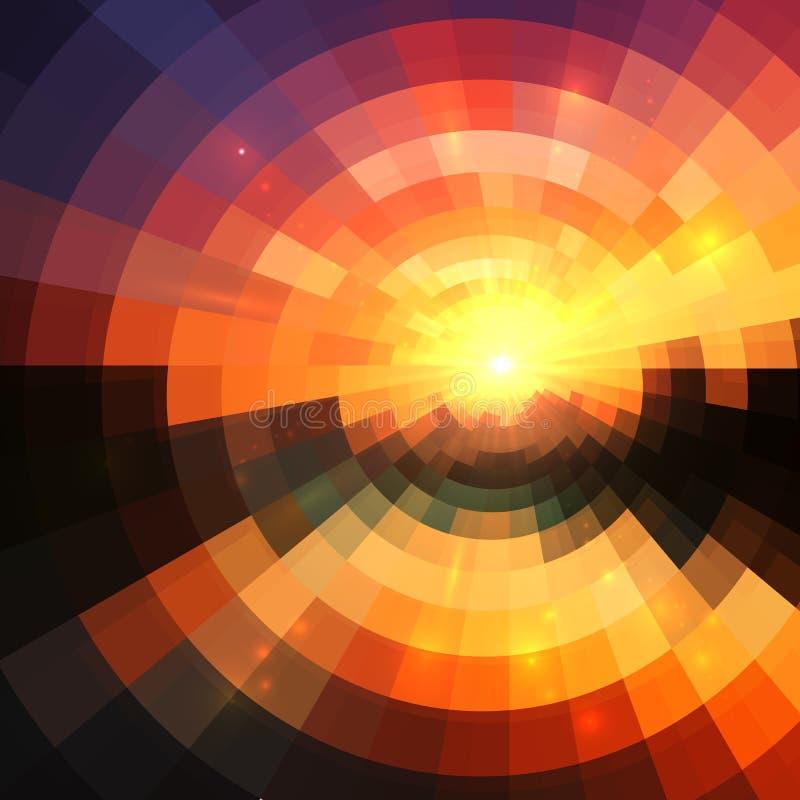 Koloru żółtego, czerwieni i czerni kolorów mozaiki abstrakta koncentryczny olśniewający tło, ilustracja wektor