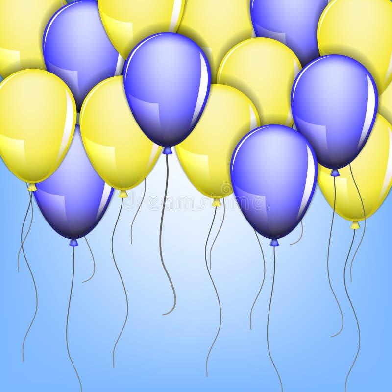 Koloru żółtego i błękita balony royalty ilustracja